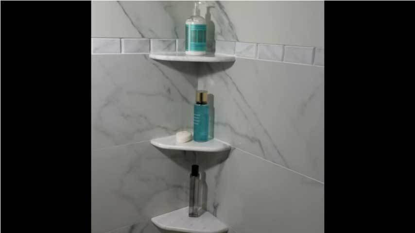 Floating Shower Corner Shelf Idea