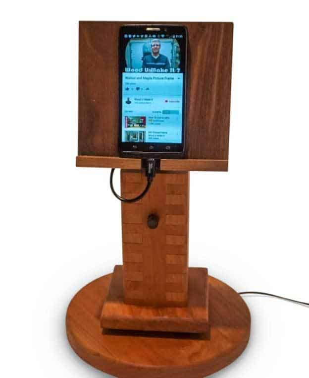 Wooden Mobile Stand Holds Mobile On Top  With Charger