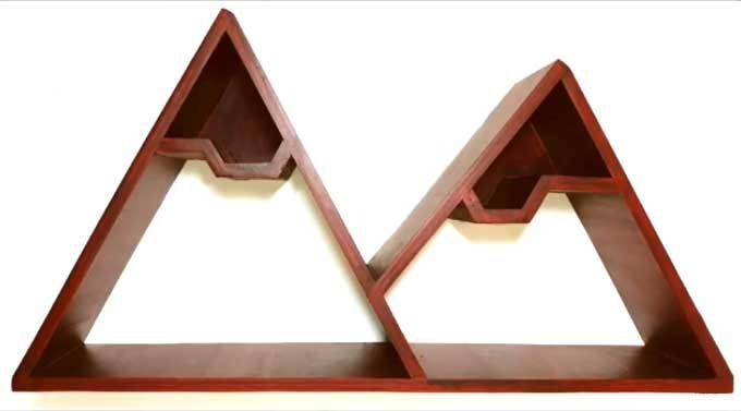 Wooden Mountain Shelves For Wall