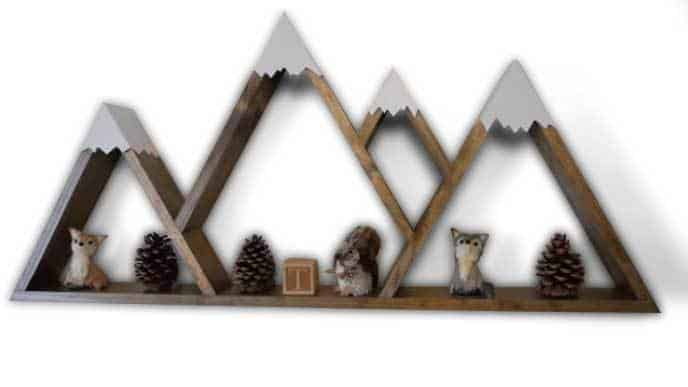 DIY Wooden Mountain Shelves With White Pick